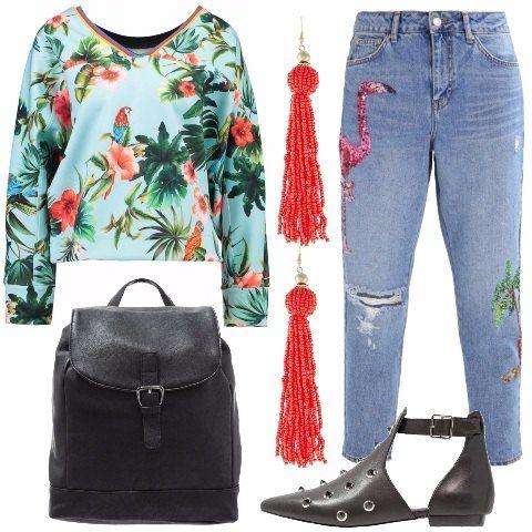 Per la primavera estate una delle tendenze più forti è lo stile tropicale, per questo ho scelto per voi questa splendida felpa multicolor, la abbiniamo al jeans ricamato. Per lo zaino e le scarpe ho scelto un total black, per gli orecchini un vivace corallo.