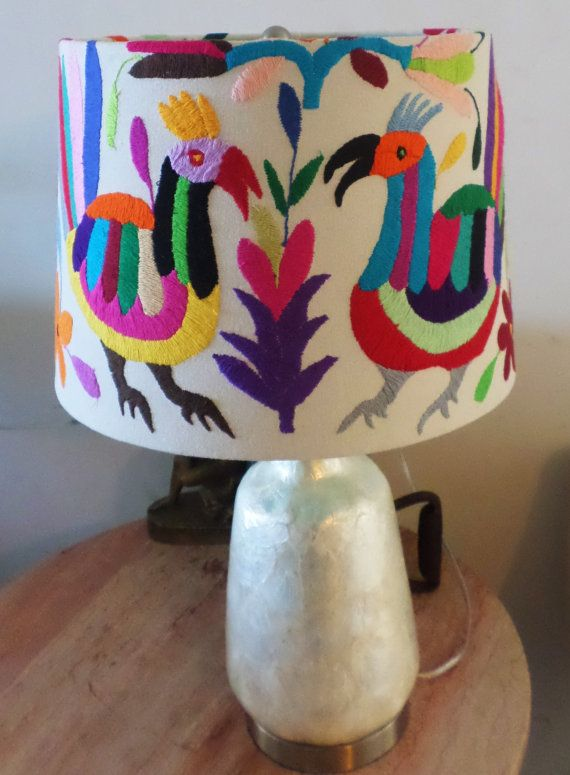 De Frida Otomi lampshade Birds Theme Proudly featured by ArteOtomi
