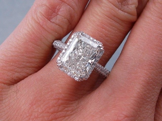 3.50 CARATS CT TW RADIANT CUT DIAMOND ENGAGEMENT RING H SI3-I1