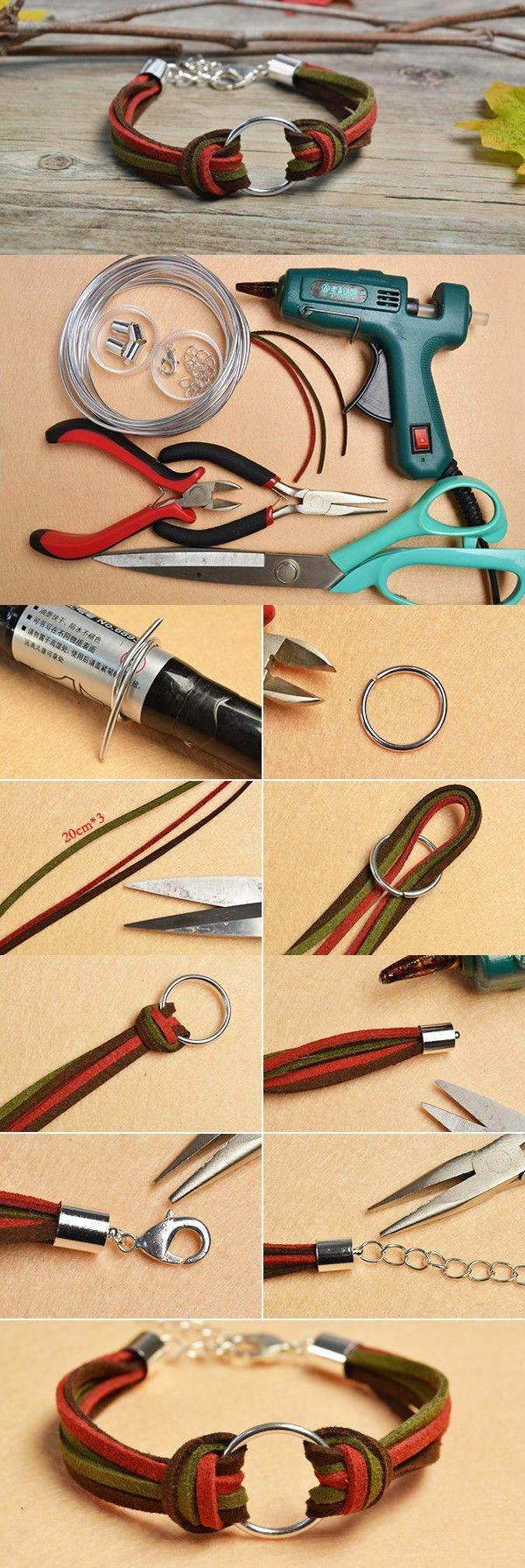 Making Simple Handmade Suede Cords Bracelet