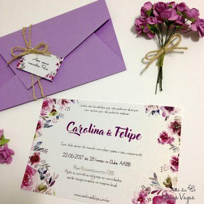 convite de casamento ou aniversário envelope colorido recorte diferente e papel perolado estampa floral aquarelada boho chic