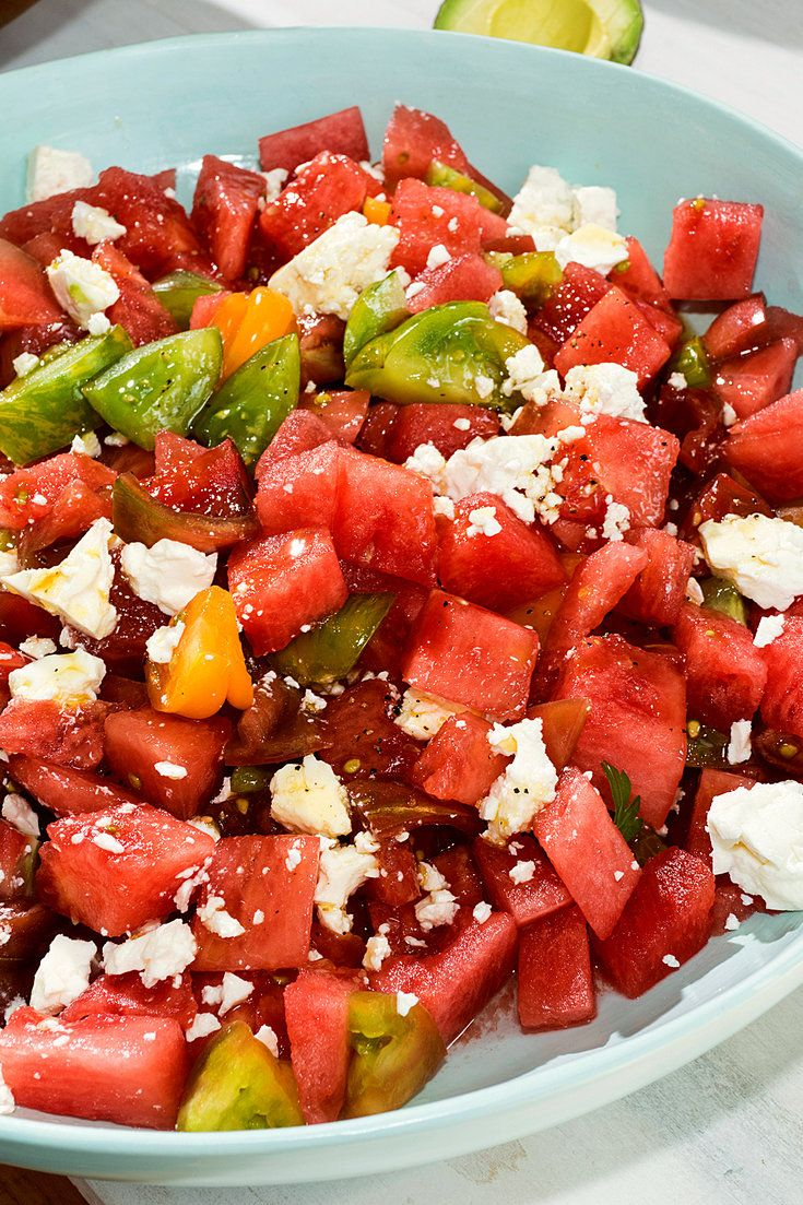 NYT Cooking: Summer in a bowl: salty and sweet, with a hint of acidity. Make it with the best tomatoes you can find, a cold watermelon, less dressing than you would think and, if you can find it, Bulgarian feta.
