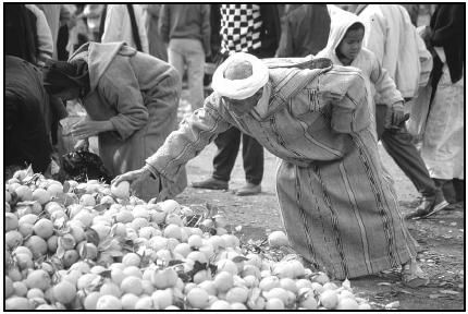 A shopper selects lemons from the stock at an open-air market. Moroccan cooking uses ingredients common to North Africa, such as lemons, olives, figs, dates, and almonds. Cory Langley