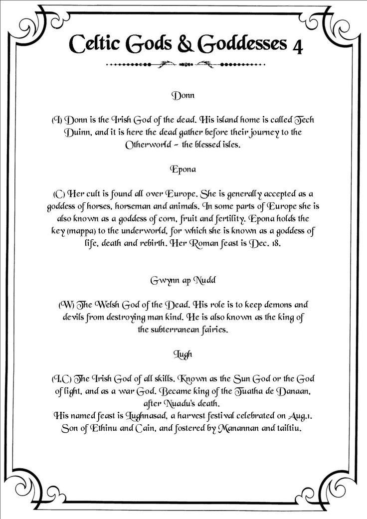 Book of Shadows:  #BOS Celtic Deities 4 page.