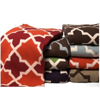 The Eco Morocco Blanket brings lively shapes and colors to your space for a fresh look