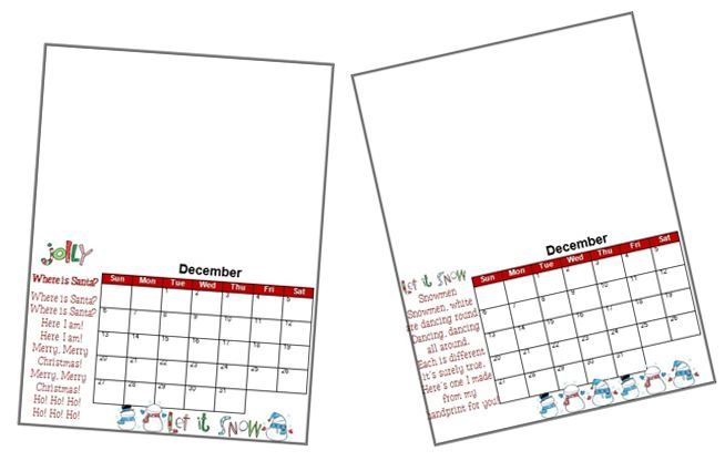 2015 Handprint Calendar Template Printable