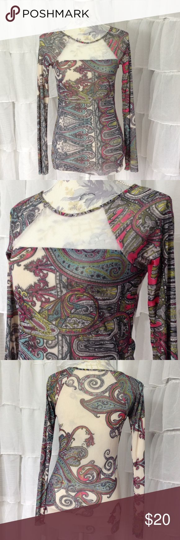 Colorful Paisley Mesh Top This long sleeve shirt is made of a soft, lightweight stretch nylon mesh. It is fully lined with a second layer of mesh. The center front neck area features a cream coloured sheer panel.  New with tags, never worn. Weston Tops Tees - Long Sleeve