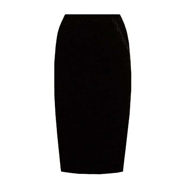 Jupe by Jackie Lila silk-velvet skirt found on Polyvore featuring skirts, black, flouncy skirt, velvet skirt, flounce skirt, frilly skirt and embroidered pencil skirt