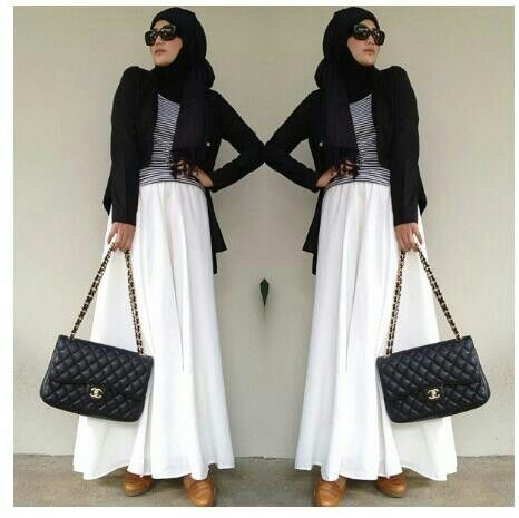 Black and white hijab style
