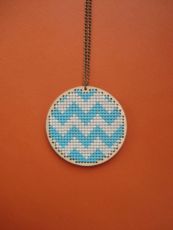 Blue Chevron. Wooden cross stitch pendant. Blue  by cupcakecutie1, $35.00