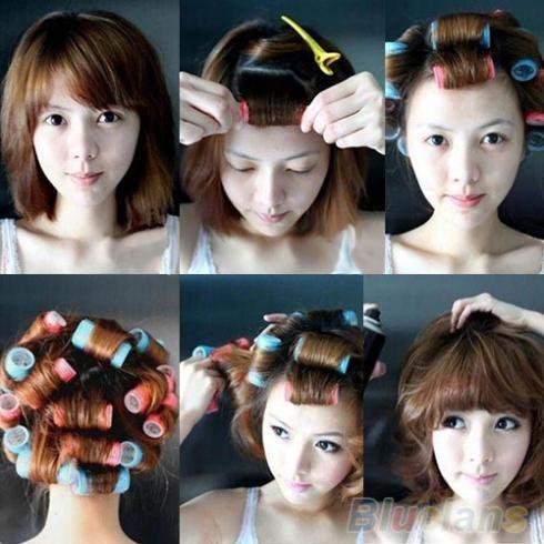 2016 Hot 6pcs/set Grip Cling Hair Styling Roller Curler Hairdressing tool Soft DIY 7 Sizes 02U4 2TR1 7D42 8M57
