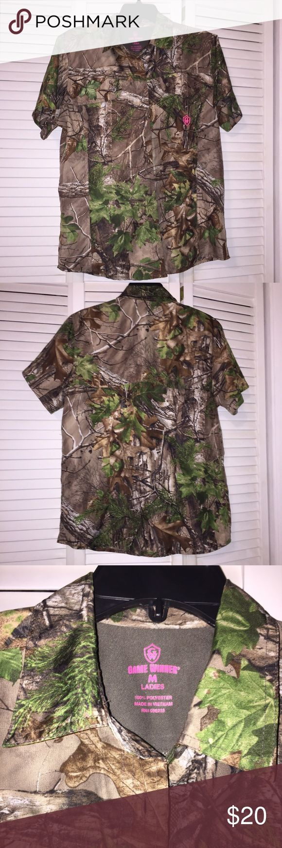 Game Winner Women's Dry Fit Button Up Camo Shirt Game Winner Women's Camo Dry Fit button up shirt! Brand new, but no tags. Size Medium! Make an offer! 😍 Game Winner Tops Button Down Shirts