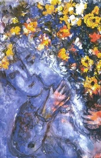 Marc Chagall, Lovers with the bouquet on ArtStack #marc-chagall #art