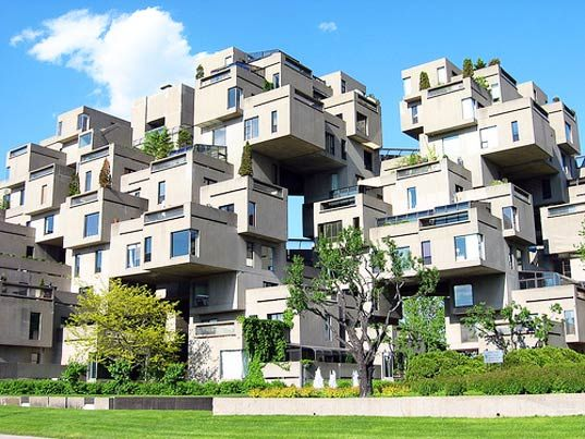 Habitat 67 in Montreal. Our family saw this at Expo 67, tho I don't remember much.