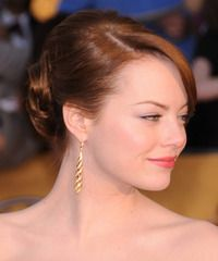 A classic updo from Emma Stone. Click on the image to try on this hairstyle!