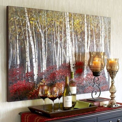Slender white birches stand in vivid contrast to clusters of brilliant red blooms. Rich in detail and bold saturated color, this unique, hand-painted acrylic reproduction makes a strong statement. Is it speaking to you?