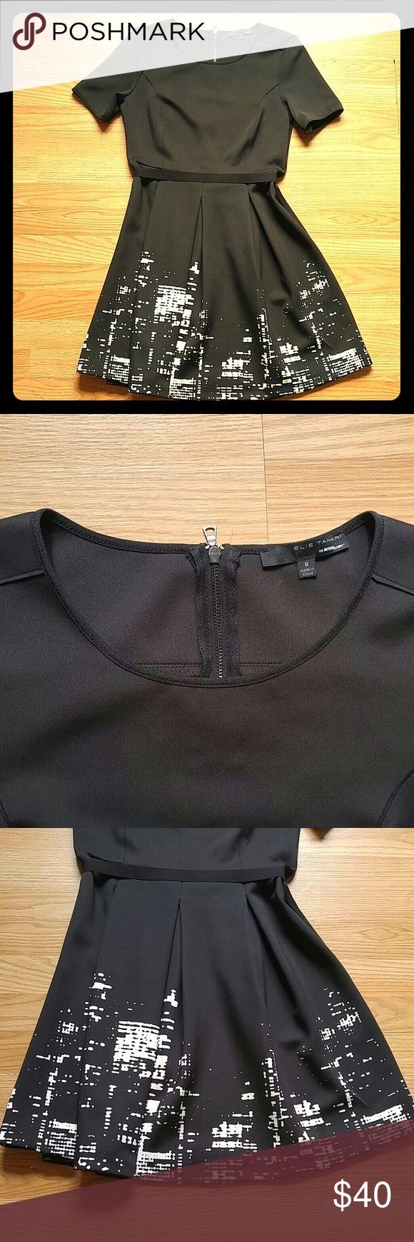Elie Tahari for Design Nation Skyline Dress Black Elie Tahari dress with abstract city skyline design. Satin ribbon at waistline. Elie Tahari Dresses Midi