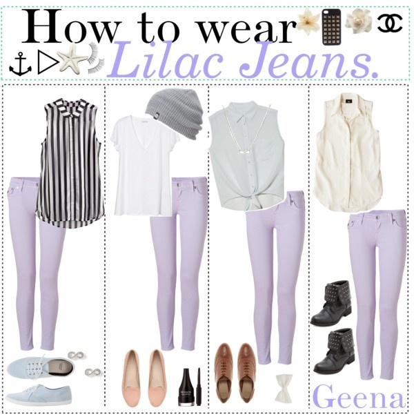 """How to wear: Lilac jeans!"" by teenagetippers-xo ❤ liked on Polyvore"