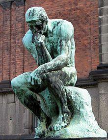 (Statue--Wikipedia)The Thinker, by Rodin c. 1902, Bronze, Copenhagen