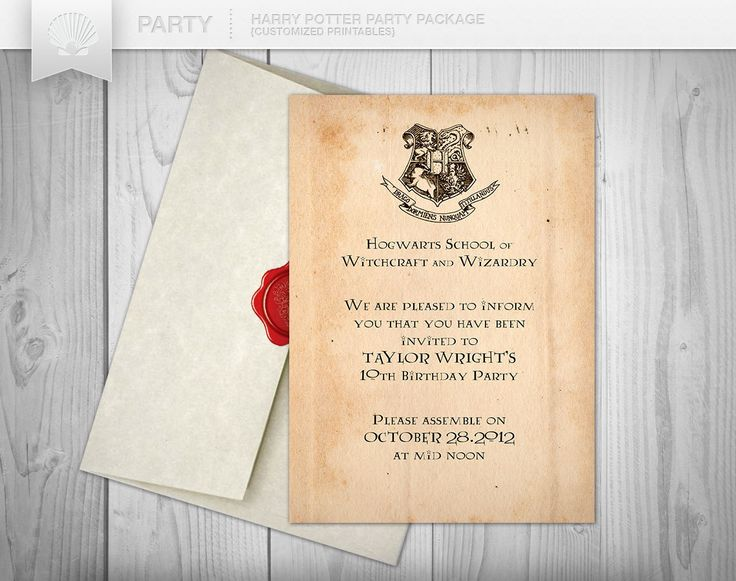 harry potter inspired party printable custom invitation print it yourself party. Black Bedroom Furniture Sets. Home Design Ideas