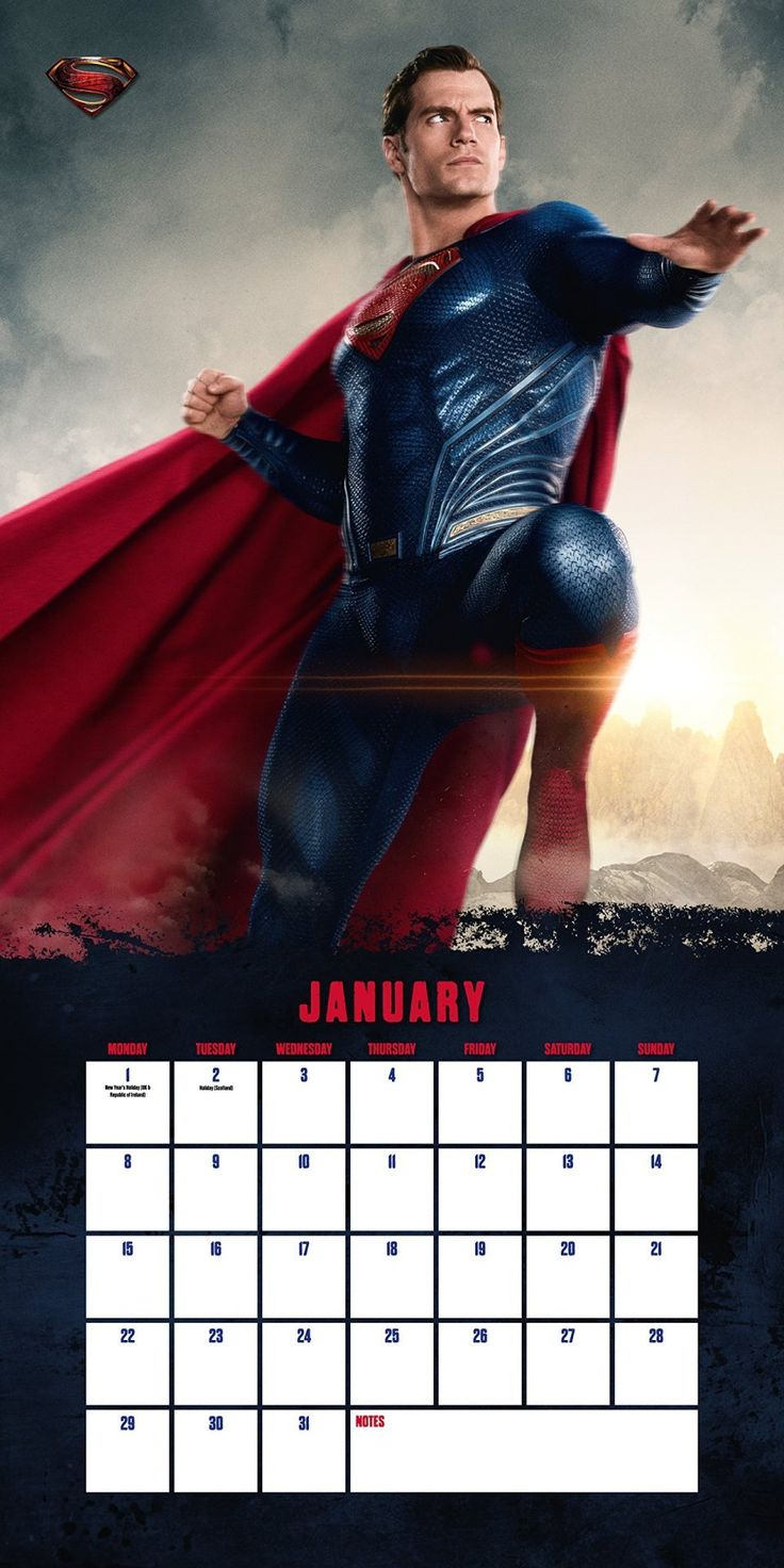New Superman Image in Justice League 2018 Wall Calendar