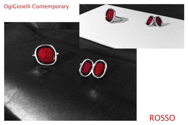 Rosso, 2014 Anello, argento925, smalto. € 50.00 Ring, silver925, enamel.  Orecchini, argento925, smalto. € 50.00 Earrings, silver925, enamel.