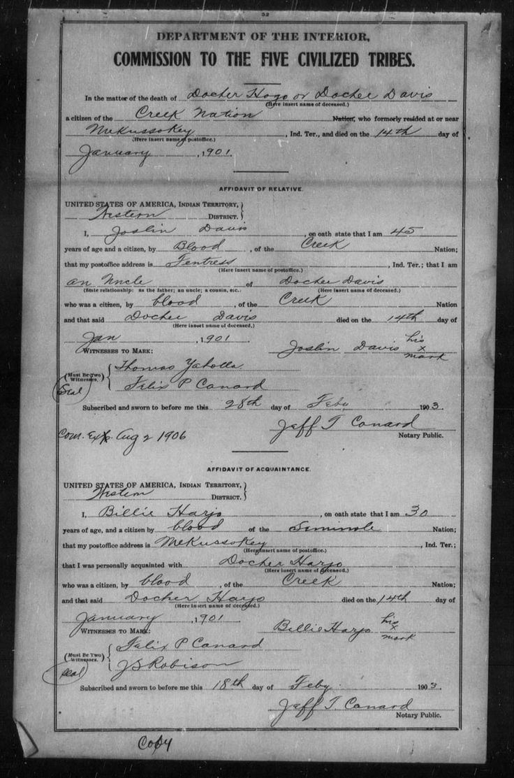The Dawes Roll (Final Rolls) is a list of those members of the Five Civilized Tribes who removed to Indian Territory (Oklahoma) during the 1800's and were living there during the above dates. If your ancestor was not living in Indian Territory during 1898-1914 they will not be listed on the Dawes Roll! Only those Indians who RECEIVED LAND under the provisions of the Dawes Act are listed. It also lists those Freedmen who received land allotments as provided for in the Dawes Act. These pages…