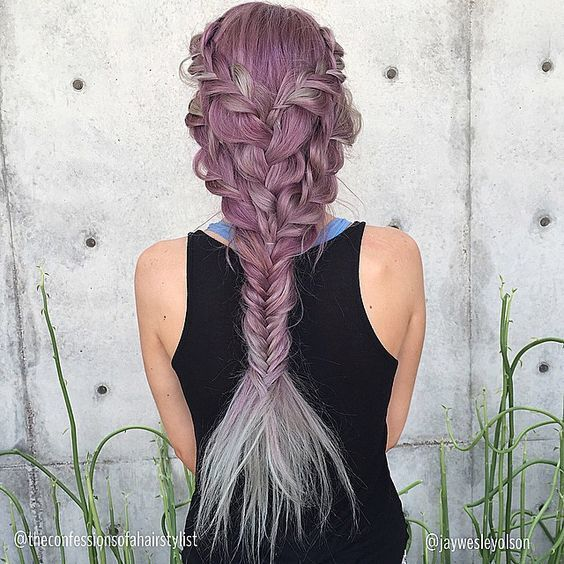 This is truly a mermaid hair! I saw this on a feed and immediately thought the hair resembles a fish! I mean the shape and everything looks legit. The braids are like the scales and the fishtails really does remind me of a fish tail. I was trying to find the tutorial for this exact hairstyle but no luck. I did find a tutorial that is close enough to this one by the same hairstylist. The only difference is the method of braiding on the top. Notice the at the previous photo it's a dutch braid…