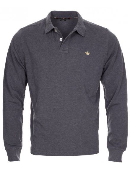 Twisted Soul Mens Charcoal Marl Long Sleeve Polo Shirt, £16.99
