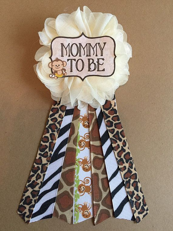 Safari Jungle Monkey Baby Shower pin mommy to be pin by afalasca