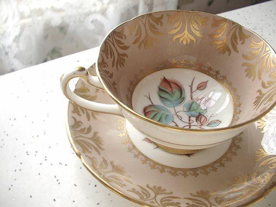 Antique Royal Grafton tea cup and saucer, mocha brown tea cup, English tea cup, Antique tea cup, bone china tea cup, Christmas teacup