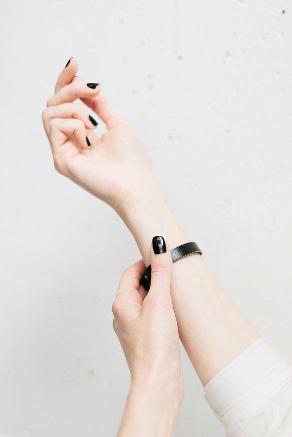 Black leather bracelet, Wrap bracelet, Women leather bracelet, Leather bangle, Black leather bracelet wrap bracelet, minimalist bracelet