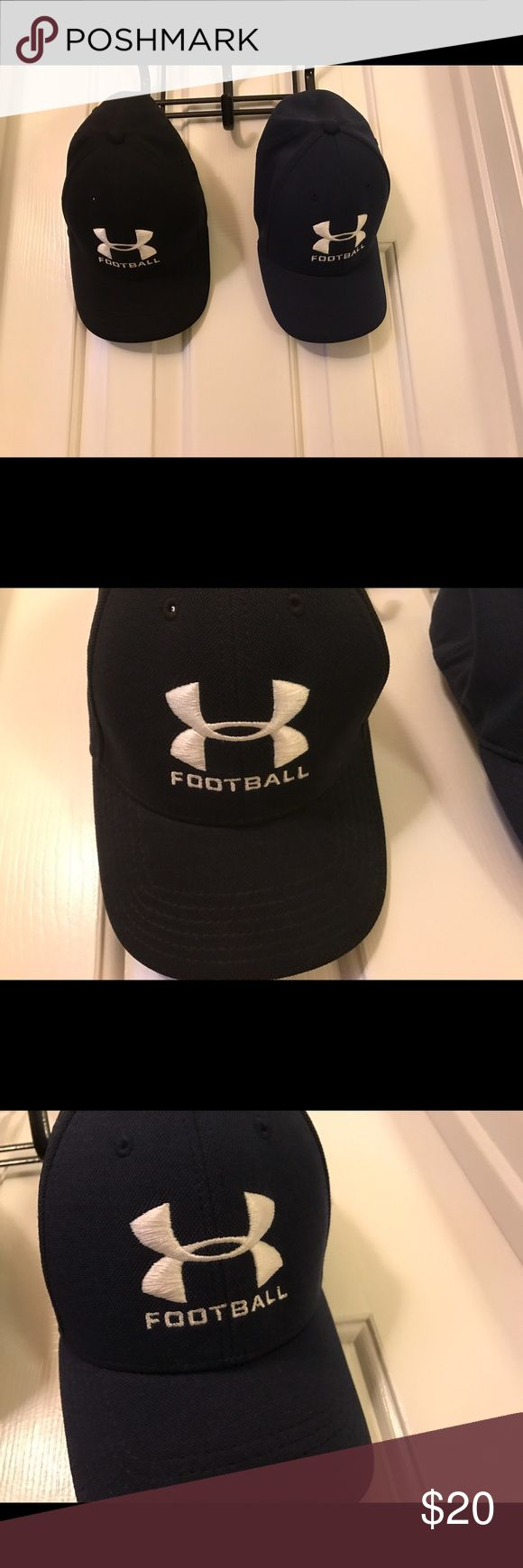 Bundle of Under Armour UA Football Caps Like New Bundle of Men's Under Armour UA Football Headline Stretch Fit Caps. Size med/lrg. They are in like new condition--worn maybe once or twice if at all. No holes, stains, or tears. They are the identical design--except one is black and the other is navy. The logo is embroidered. 100% polyester. Style #204458. Smoke-free home. Under Armour Accessories Hats