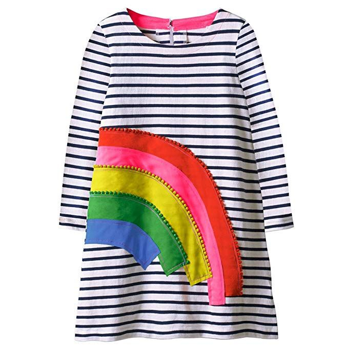 Toddler Kids Baby Girls Stripes Long Sleeve Dresses Party Casual Animal Clothes