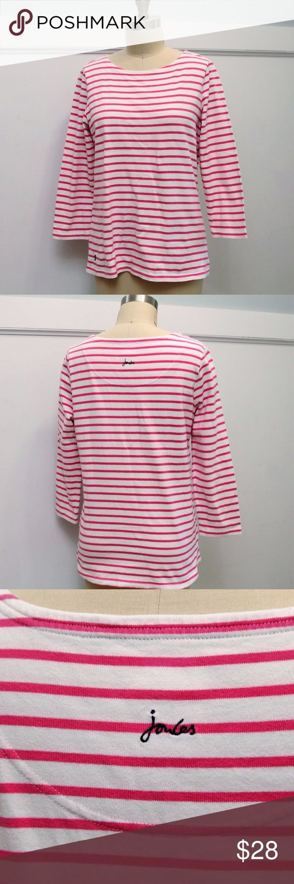 "Joules Harbour Stripe Top Joules  Harbour Stripe Top  Sz 10  Pink & White Cotton  3/4"" Sleeves Excellent condition Length: 25.5"" Bust: 38"" around Joules Tops"
