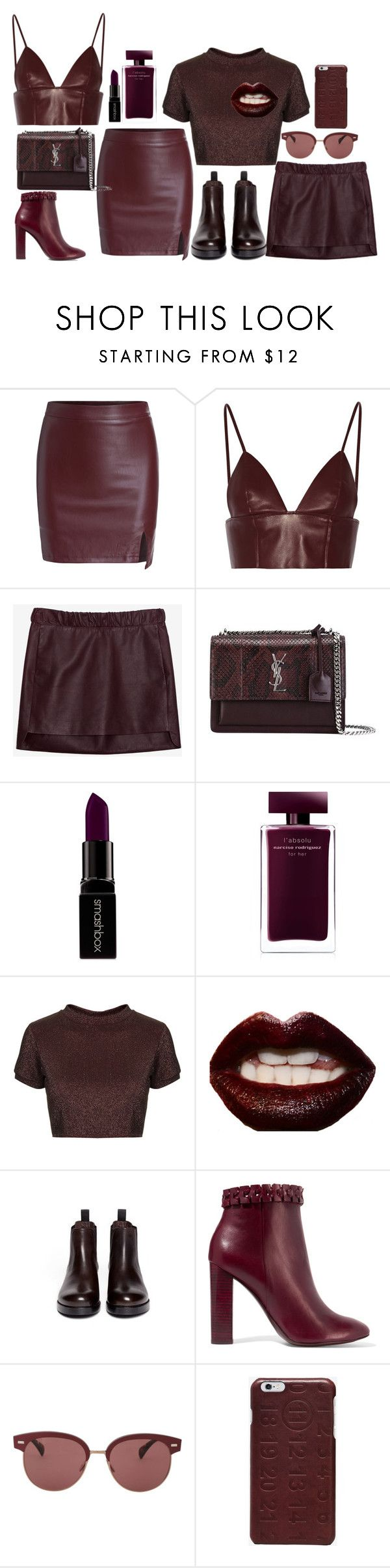 """""""Burgundy Babe"""" by dissolving-film ❤ liked on Polyvore featuring T By Alexander Wang, Neil Barrett, Yves Saint Laurent, Smashbox, Narciso Rodriguez, Topshop, Manic Panic NYC, Sam Edelman, Tory Burch and Oliver Peoples"""
