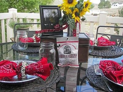 Cute rustic idea - aluminum pie pans for plates, bandana napkins, and mason jar glasses
