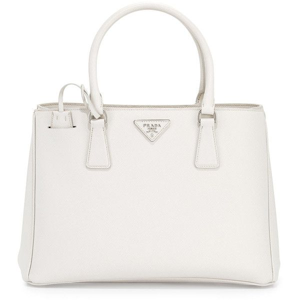 Prada Saffiano Lux Small Gardener's Tote Bag (£1,480) ❤ liked on Polyvore featuring bags, handbags, tote bags, white, prada tote, genuine leather tote, white tote bag, leather man bag and white leather handbags