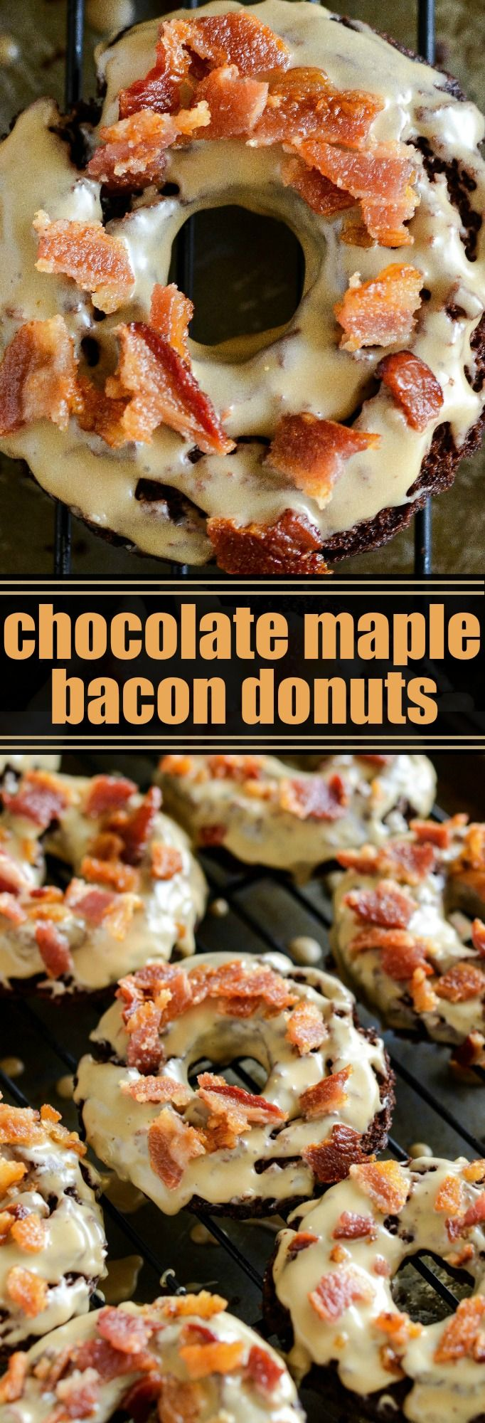Chocolate Maple Bacon Donuts: old fashioned chocolate donuts, made extra tender with hidden The Greek Gods® Greek-Style Yogurt, are fried and dunked in a maple glaze and topped with bacon! #ad