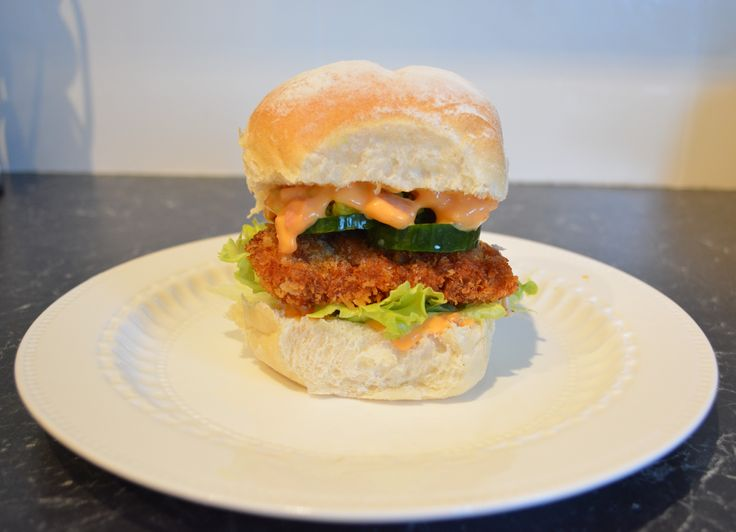 Chicken Schnitzel Burger with Baconnaise. Find the recipe at http://www.whatscookingella.com/blog/chicken-schnitzel-burger-with-baconnaise