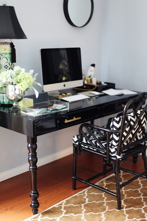 Black Lacquer Desk. Home Office.