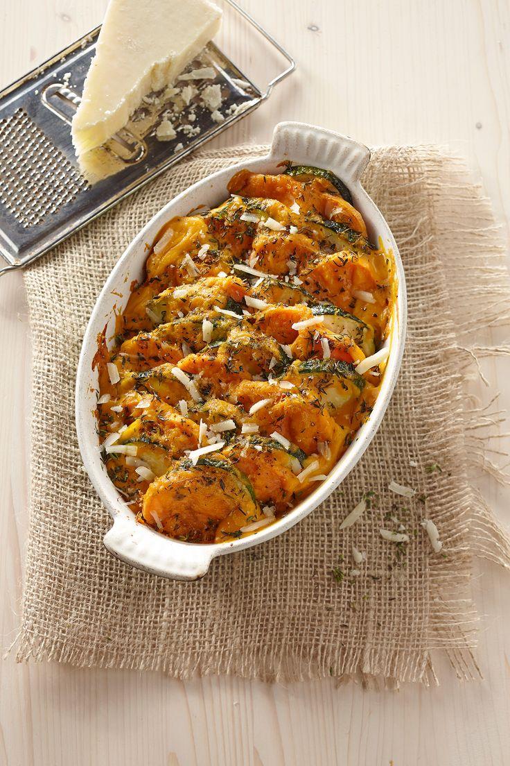 Zoete aardappel en courgette met Pecorino, citroenschil en tijm uit de oven - Sweet Potatoes NL