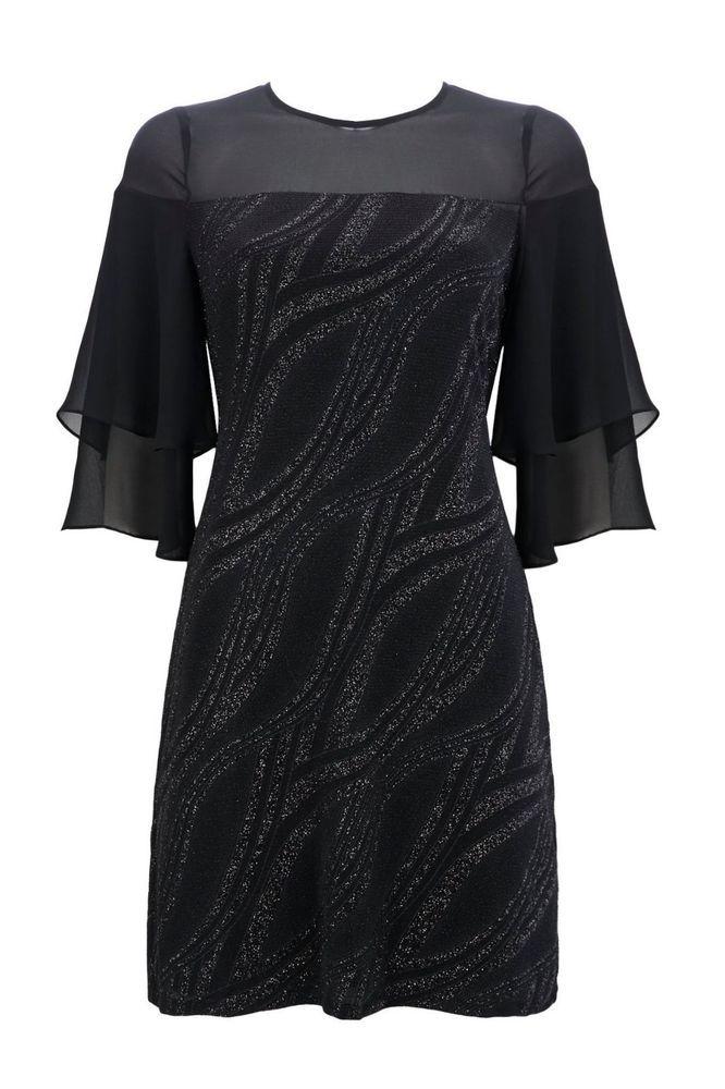 Wallis Petite Sparkle Flute Sleeve Shift Dress Size Uk 14 Lf182 Cc 02 Fashion Clothing Shoes Accessories Wo Necklines For Dresses Dresses Midi Shift Dress