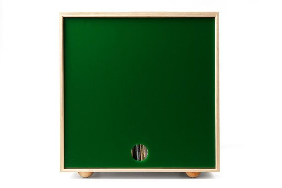 Stackable Storage Cube  Green  LP Vinyl Record by SimpleWoodGoods