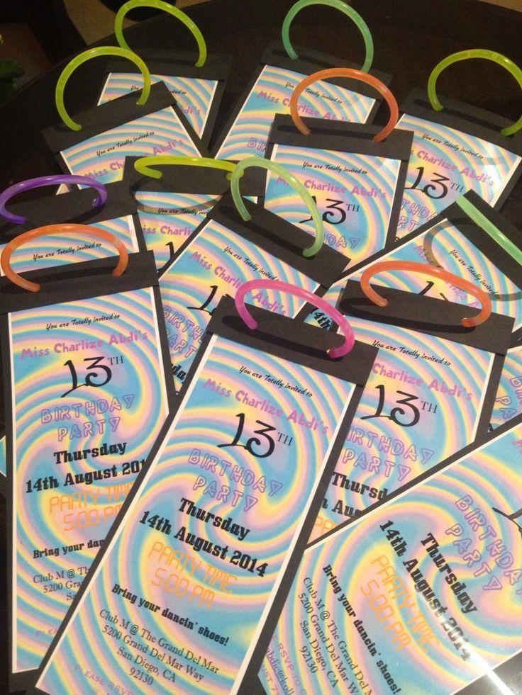 Super cute invite idea for a neon glow party: add a glow stick!!