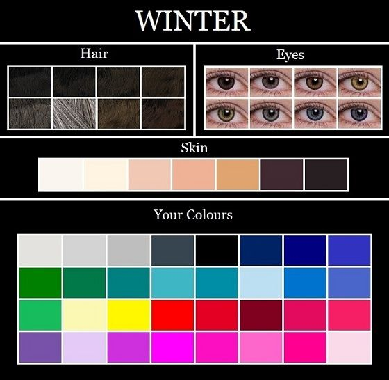 Always been fascinated with color seasons. Good thing pink and black are on my list!! The Winter colour palette consists of pure white, silver, icy grey, charcoal, black, dark navy, true blue, royal blue, cobalt blue, icy blue, teal, turquoise, emerald green, pine green, icy yellow, true red, blue red, raspberry, burgundy, deep rose, hot pink, fuschia, magenta, royal purple, and icy violet.