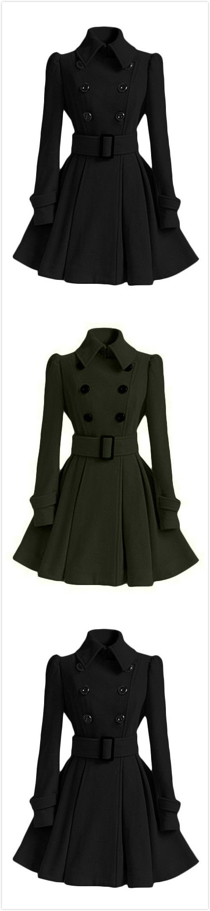Women's Fashion Double Breasted Woolen Trench Coat with Belt