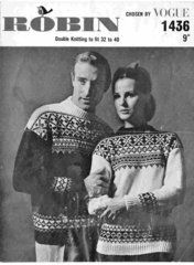 Robin 1436 ladies mens fairisle jumper vintage knitting pattern