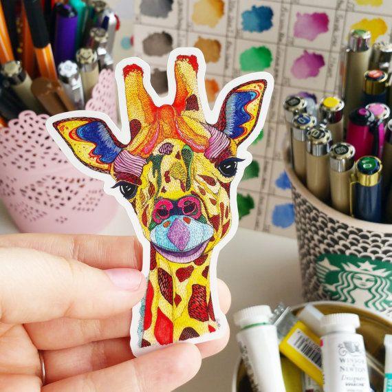 Giraffe Vinyl Sticker Animal Pattern by NicoleStefanieDesign