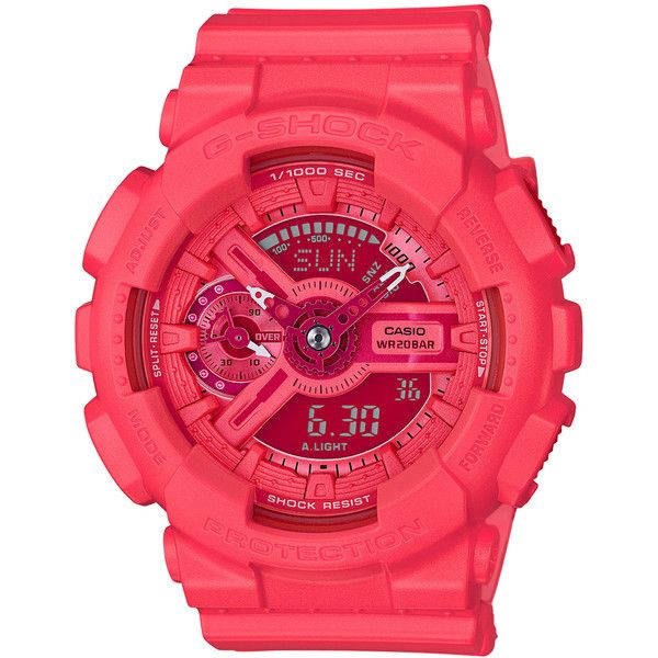 Casio G-Shock S Series Neon Pink Watch (2,340 MXN) ❤ liked on Polyvore featuring jewelry, watches, resin, water resistant watches, magnet jewelry, neon pink jewelry, magnetic jewelry and g shock wrist watch